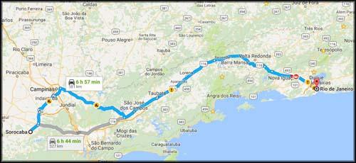mapa Socoraba a Rio de Janeiro